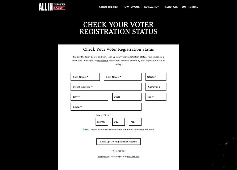 ALL IN: The Fight For Democracy Voter Registration Page